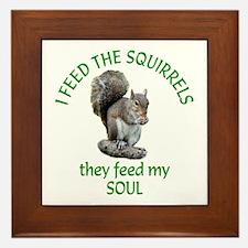 Squirrel Feeder Framed Tile