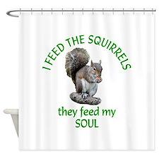 Squirrel Feeder Shower Curtain