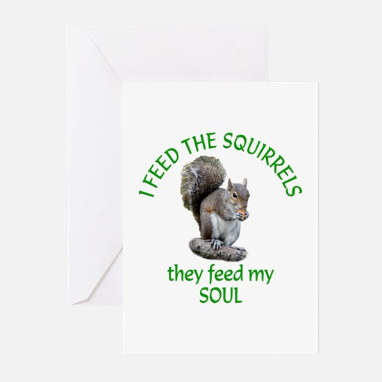 Squirrel Feeder Greeting Cards (Pk of 20)