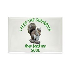 Squirrel Feeder Rectangle Magnet