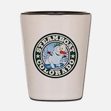 Steamboat Snowman Circle Shot Glass