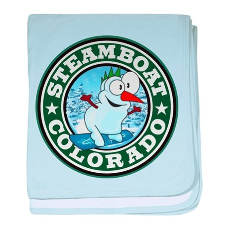 Steamboat Snowman Circle baby blanket