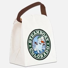 Steamboat Snowman Circle Canvas Lunch Bag