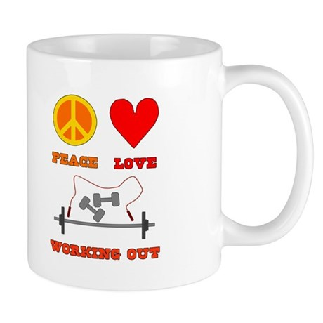 Peace Love Working Out Mug