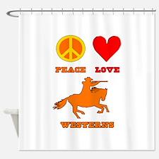 Peace Love Westerns Shower Curtain