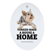 Home with Yorkies Ornament (Oval)