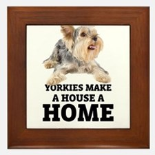 Home with Yorkies Framed Tile
