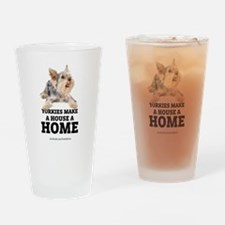 Home with Yorkies Drinking Glass
