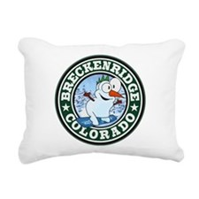 Breckenridge Snowman Circle Rectangular Canvas Pil