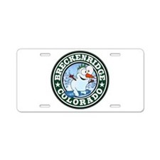 Breckenridge Snowman Circle Aluminum License Plate