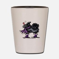 Black Pomeranian Snow Shot Glass