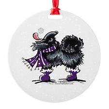 Black Pomeranian Snow Ornament