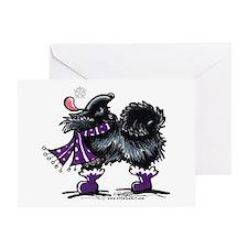 Black Pomeranian Snow Greeting Card