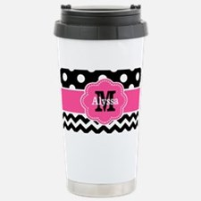 Pink Black Dots Chevron Personalized Mugs