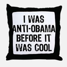 I was Anti-Obama Throw Pillow