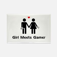 Girl Meets Gamer Rectangle Magnet