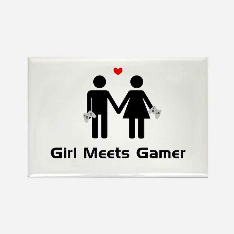 Girl Meets Gamer Rectangle Magnet