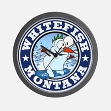 Whitefish Snowman Circle Wall Clock