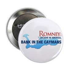 """Romney Bank in Caymans 2.25"""" Button"""