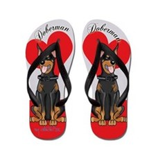 Doberman Flip Flops red