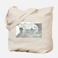 Pencil drawing of a Bearded Dragon Tote Bag