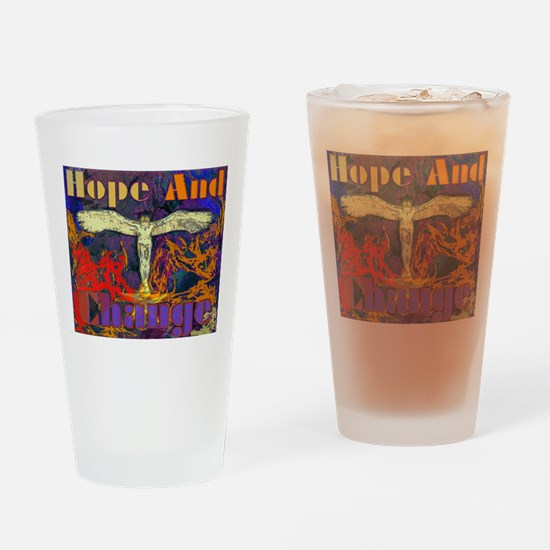 HOPE AND CHANGE SONG - ORANGE Drinking Glass