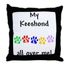 Keeshond Walks Throw Pillow