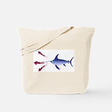 Swordfish chasing three humboldt Squid Tote Bag