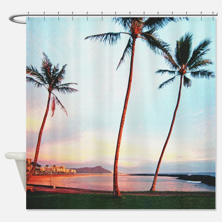 Magic Island Tropical Sunset Shower Curtain