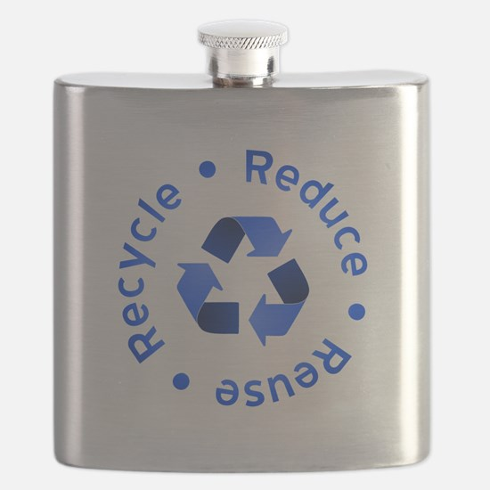 Blue Reduce Reuse Recycle Flask