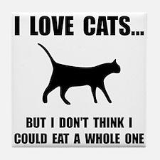 Eat A Whole Cat Tile Coaster