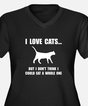 Eat A Whole Cat Women's Plus Size V-Neck Dark T-Sh