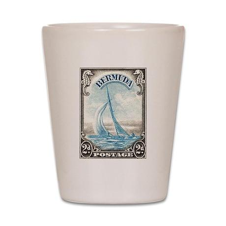 1938 Bermuda Yacht Postage Stamp Shot Glass