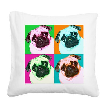 Pop Art Pug Square Canvas Pillow