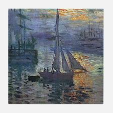 Claude Monet Sunrise At Sea Tile Coaster