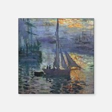 "Claude Monet Sunrise At Sea Square Sticker 3"" x 3"""