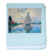 Claude Monet Sailboat baby blanket