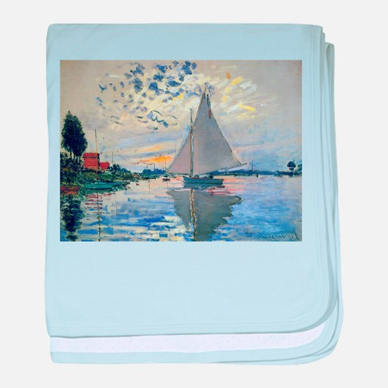 Claude Monet Sailboat baby blanket