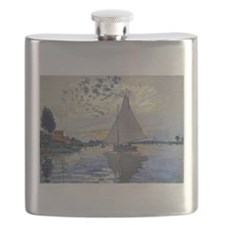 Claude Monet Sailboat Flask