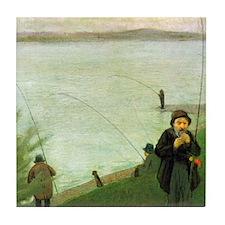 Macke Anglers on the Rhine Tile Coaster
