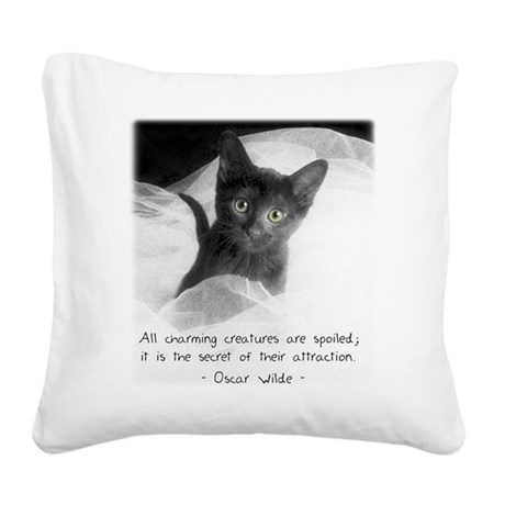 Spoiled Kitten-And-Quote Square Canvas Pillow
