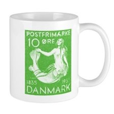 1935 Denmark Mermaid Stamp Green Mug