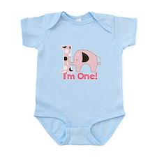 Im ONE Pink Elephant First Birthday Infant Bodysui