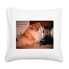 Black Pomeranian (Coal) Square Canvas Pillow
