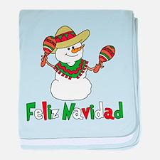 Feliz Navidad Snowman baby blanket