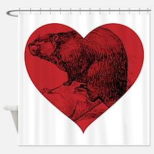I Love Beaver Shower Curtain