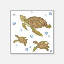 """Sea Turtle Family Square Sticker 3"""" x 3"""""""
