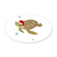 Santa - Turtle Oval Car Magnet