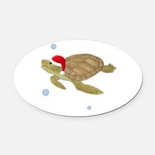 Santa - Turtle Oval Car Magnet