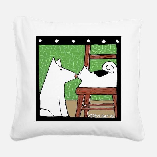 Standoff Dog, Cat Square Canvas Pillow